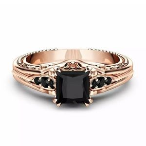 Jewelry - Women Rose Gold Filled Black Sapphire  Ring